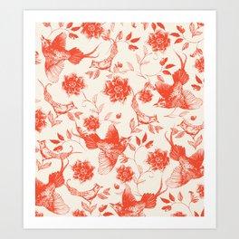 Oriental birds orange Art Print