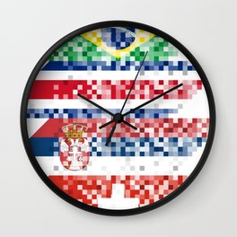 Abstract composition of the flags of national sports teams Wall Clock