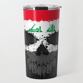 Flag of Iraq on a Chaotic Splatter Skull Travel Mug