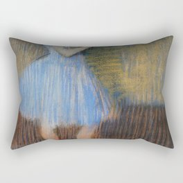 Dancer In Blue At The Barre By Edgar Degas | Reproduction | Famous French Painter Rectangular Pillow