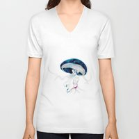 jellyfish V-neck T-shirts featuring jellyfish by Leilalilium