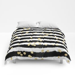 Modern black watercolor stripes chic gold confetti Comforters