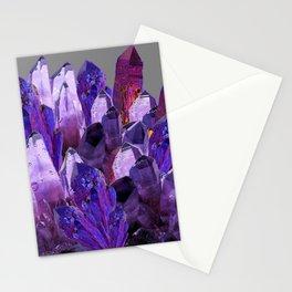 PURPLE AMETHYST CRYSTALS GREY ART Stationery Cards