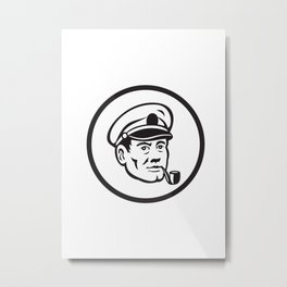 Sea Captain Smoke Pipe Circle Retro Metal Print