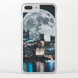 PGH #6 // Super Moon over Pittsburgh Clear iPhone Case