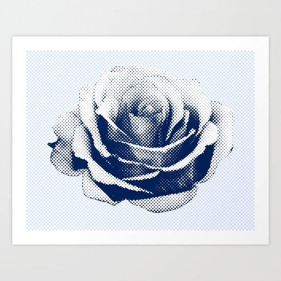 HALFTONE ROSE Art Print