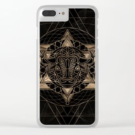 Bull in Sacred Geometry - Black and Gold Clear iPhone Case