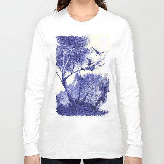 blaue Vögel Long Sleeve T-shirt