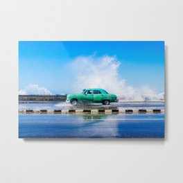 Waves and Classic Cars of the Malecón - 8 Metal Print