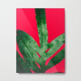Green Fern on Bright Red Metal Print