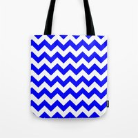 chevron Tote Bags featuring Chevron (Blue/White) by 10813 Apparel