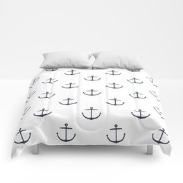 Yacht style. Anchor. Navy blue & white. Comforters