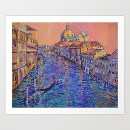 Sunset Over The Grand Canal In Venice -palette knife urban city landscape by Adriana Dziuba Art Print