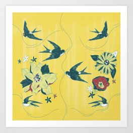 swallows and flowers Art Print