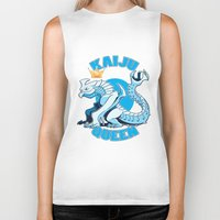 kaiju Biker Tanks featuring kaiju queen by Amanda Lien