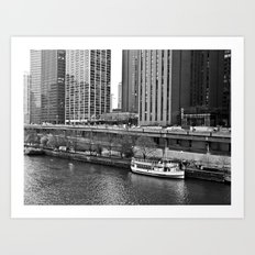 Boat on the Chicago River -- Downtown Chicago -- Black and White Photograph Art Print