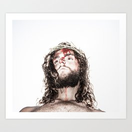 silhouette of compassionate face of Jesus with crown of thorns  Art Print