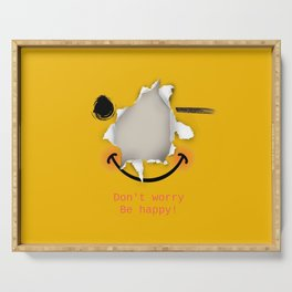 Don't worry be happy - funny emoticon Serving Tray