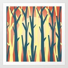 trees against the light 2 Art Print