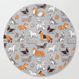 Origami doggie friends // grey linen texture background Cutting Board