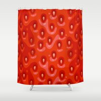 strawberry Shower Curtains featuring Strawberry by Screen Candy