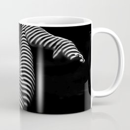 7379-KMA BW Naked Zebra Woman Spread Striped Legs Presenting Coffee Mug