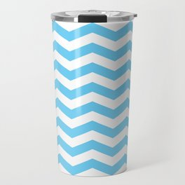 Light Blue Chevron Pattern Travel Mug