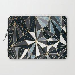 Stylish Art Deco Geometric Pattern - Black, blue, Gold #abstract #pattern Laptop Sleeve
