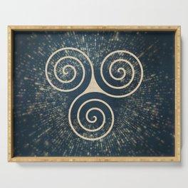 Triskelion Golden Three Spiral Celtic Symbol Serving Tray