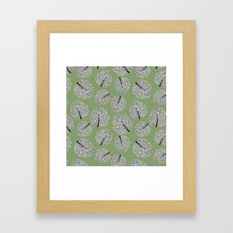 Abstract Monstera Leaf Pattern green Framed Art Print