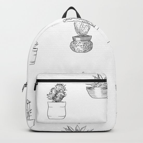Potted Cactus Pattern Black and White Backpack