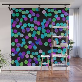 Watercolour Purple Blue Dots Wall Mural