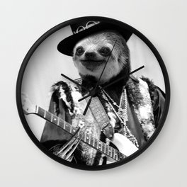 Rockstar Sloth #2 Wall Clock