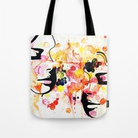 her art Tote Bags featuring #her by Yazmeen Collazo