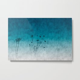 Blue Floral ~ silhouettes Metal Print