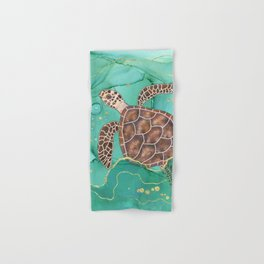 Precious Hawksbill Sea Turtle Swimming in the Emerald Ocean Hand & Bath Towel