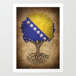 Vintage Tree of Life with Flag of Bosnia - Herzegovina Art Print