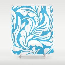 Sky Blue Flourishes Shower Curtain