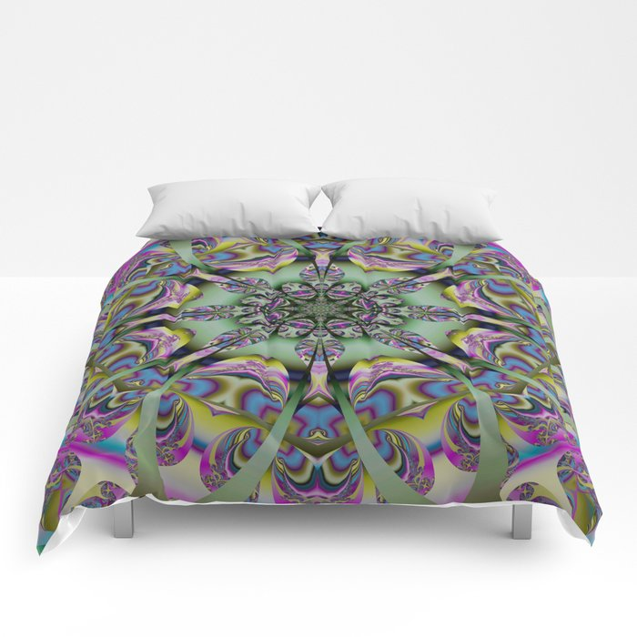 Colourful mandala with decorative shapes and tribal patterns Comforters