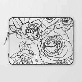 Feminine and Romantic Rose Pattern Line Work Illustration Laptop Sleeve