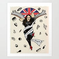 my mad fat diary Art Prints featuring My Mad Fat Diary Oasis Rae Pin-up by Emma Munger