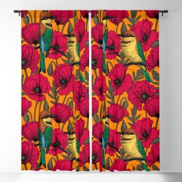 Bee eaters and poppies on orange Blackout Curtain