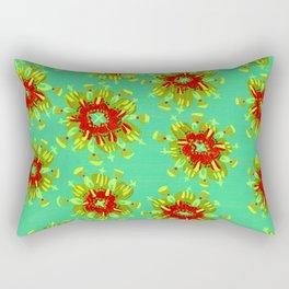 Green Christie Rose Rectangular Pillow