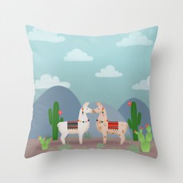Cute Llamas Illustration Throw Pillow