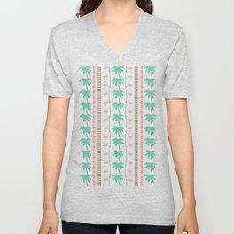 Art Deco Palm Trees and Flamingos Unisex V-Neck