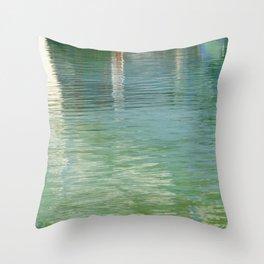 Aqua Abstract Flow Throw Pillow