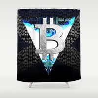 scotland Shower Curtains featuring bitcoin scotland by seb mcnulty