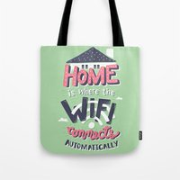 risa rodil Tote Bags featuring Home Wifi by Risa Rodil