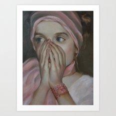 Girl in pink Art Print