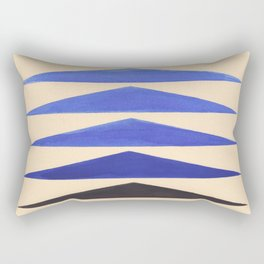Colorful Blue Geometric Triangle Pattern With Black Accent Rectangular Pillow